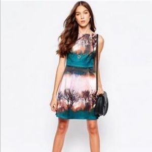 Yumi Watercolor Tree Print Skater Dress